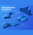 isometric infographic 3d statistics graphs and vector image
