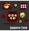Japanese seafood dishes and dessert vector image vector image