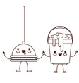 kawaii cartoon toilet pump and bucket with soapy vector image
