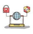 laptop with global and shield with padlock symbols vector image vector image