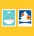 merry christmas and happy new year postage stamp vector image vector image