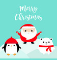merry christmas penguin bird white bear santa vector image