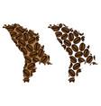moldova - map of coffee bean vector image