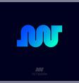 n w monogram network logo blue azure gradient vector image