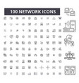 network editable line icons 100 set vector image vector image