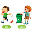 opposite words with bad and good vector image vector image