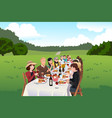 people eating in a farm table vector image vector image