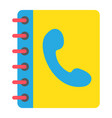 phone book flat icon contact us and website vector image
