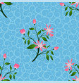 pink flowers seamless pattern in blue background vector image vector image
