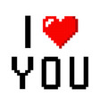 pixel art heart i love you color icon valentine vector image vector image