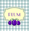 Plum label in retro style on squared background