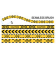 police tapes yellow ribbon seamless brush stop vector image