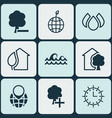 set of 9 eco-friendly icons includes ocean wave vector image