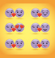 set of purple smile emoticons love hearts cute vector image