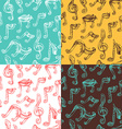 Set of seamless vintage music patterns vector image vector image