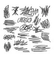 set scribble abstract drawings marker or pen vector image