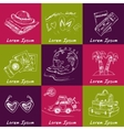 set travel drawings sketches hand-drawing vector image vector image