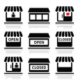 Shop or store supermarket icons set vector image