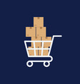 shopping cart with boxes delivery concept flat vector image