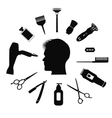 silhouette of man with barber tools