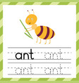 tracing worksheet with word -ant learning vector image vector image