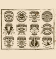 western and wild west set of emblems vector image vector image