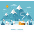 Winter landscape with house and mountains vector image