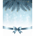 Winter snow and blue ribbon background vector image