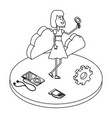 woman and technology isometric black and white vector image