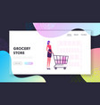 woman in grocery store website landing page vector image vector image