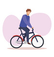 young man in bicycle avatar character vector image