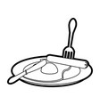 fried eggs with sausage on plate vector image
