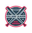 baseball college league vintage label vector image