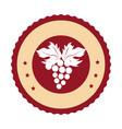 circular emblem with bunch of grapes vector image