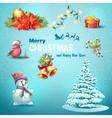 a set christmas items christmas tree lanterns vector image vector image