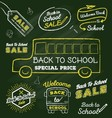 Back to school doodle label set on chalkboard vector image