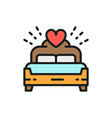 bridal bed king size flat color line icon vector image