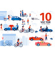 car and ecological transport scenes set vector image vector image