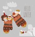 cartoon happy children sitting in mittens hello vector image vector image