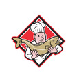 Chef Cook Handling Salmon Trout Fish Cartoon vector image vector image