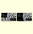 creative business card zebra pattern texture vector image vector image