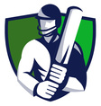 cricket player shield vector image vector image