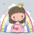cute cartoon fairy tale princess fairy vector image vector image