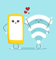 Cute cartoon phone and Wifi Technology concept vector image vector image
