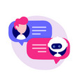 cute chat bot chatting with man person vector image vector image