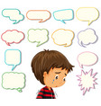 depress boy with different speech balloon vector image vector image