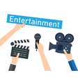 entertaining shows programs and films vector image vector image