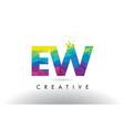 ew e w colorful letter origami triangles design vector image vector image