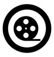 film strip black icon in circle isolated vector image