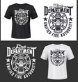 fire firefighters department t-shirt print mockup vector image vector image